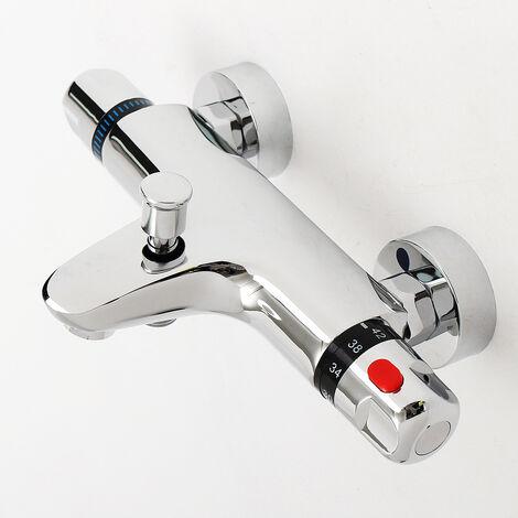 Grifo mezclador termostático para ducha Válvula de pared para baño Latón cromado sólido