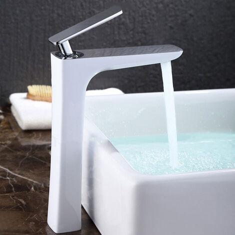 Grifo moderno para lavabo en latón macizo, cromo blanco