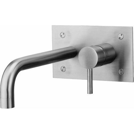 Grifo Monobloc para lavabo empotrado acero inoxidable Paffoni Steel 101AC | acero inoxidable cepillado