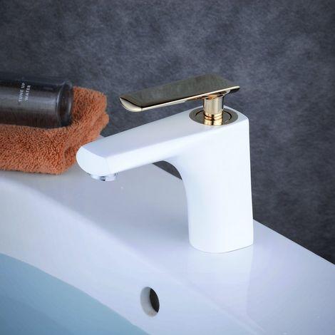 Grifo monomando con acabado en blanco y dorado para lavabo