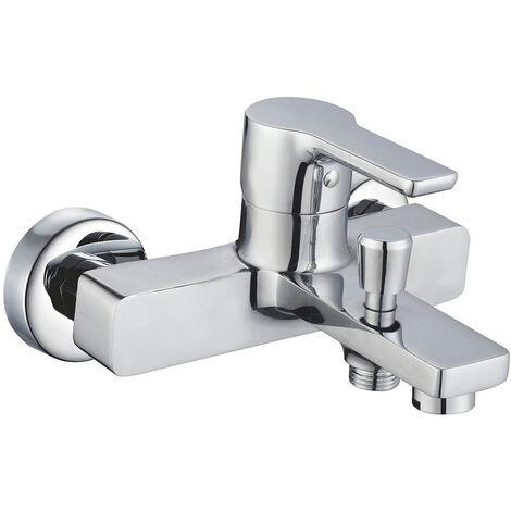 Grifo monomando de bañera para baño. monomando de diseño para tu bañera o ducha. grifería con ducha, soporte, flexo y excéntricas incluído. acabado cromado alto brillo. Kibath