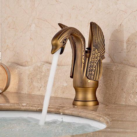 Grifo monomando de baño de cisne dorado de lujo grifo monomando grifo de caño frío caliente 1 LAVENTE