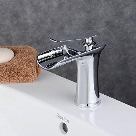 Grifo monomando de cascada cromado para lavabo