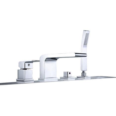 Grifo monomando de diseño para montaje en bañera con 4 orificios 6080