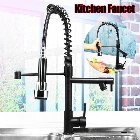 Grifo monomando de ducha con rociador retráctil negro ORB Latón de cocina