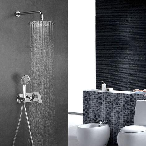 Grifo monomando de ducha para empotrar SAR. Salida pared. Incluye: rociador extraplano, soporte, flexo, maneral y brazo de ducha. Ducha empotrable con acabado redondo en cromo brillo Kibath