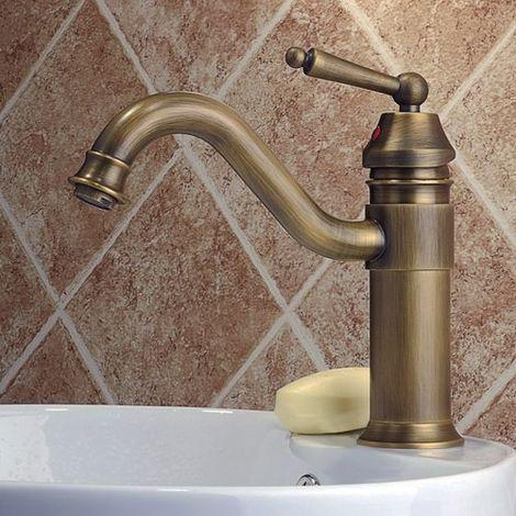 Grifo monomando de lavabo clásico de latón macizo Negro antiguo