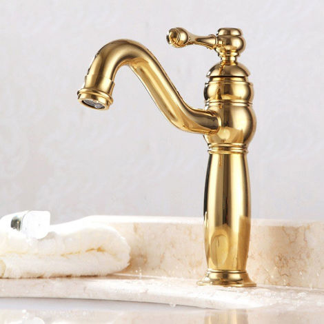 Grifo monomando de lavabo clásico en oro