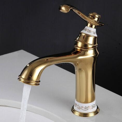 Grifo monomando de lavabo estilo vintage en latón macizo bañado en cobre