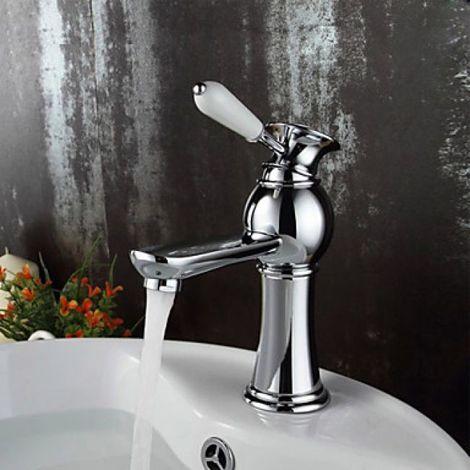 Grifo monomando de lavabo pintado de blanco y cuerpo de grifo con acabado cromado para un estilo contemporáneo