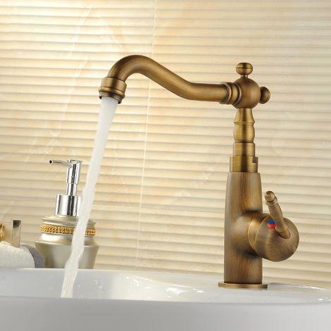 Grifo monomando de lavabo tradicional de bronce