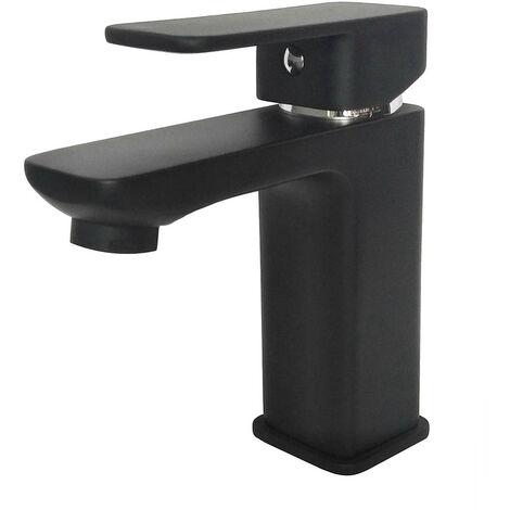 Grifo monomando de lavabo VER NEGRO diseño estilizado y cuadrado. Fabricado en latón y acabado en negro mate. Incluye herrajes, latiguillos y cartucho. Repuestos garantizados Kibath