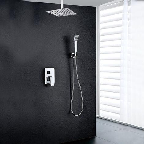 Grifo monomando ducha para empotrar CAS salida techo. Acabado cuadrado cromo brillo. Incluye soporte con toma agua, flexo PVC plateado, brazo ducha y rociador extraplano Kibath