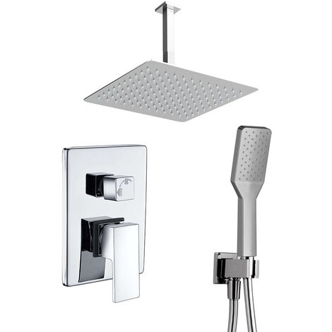 Grifo monomando ducha para empotrar CHE salida techo. Acabado cuadrado cromo brillo. Incluye soporte con toma agua, flexo PVC plateado, brazo ducha y rociador extraplano Kibath