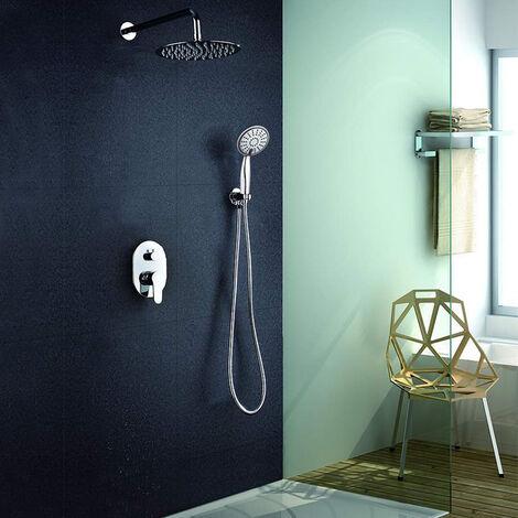 Grifo monomando ducha para empotrar SIO salida pared. Acabado redondo cromo brillo. Incluye soporte con toma agua, flexo PVC plateado, brazo ducha y rociador extraplano Kibath