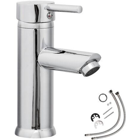 Grifo monomando - grifo para baño de latón y cromo, grifo para lavabo con cartucho cerámico y latiguillos, grifo para bidé diseño atemporal - gris