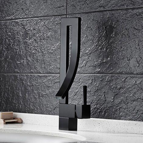 Grifo monomando moderno para lavabo de latón macizo Negro