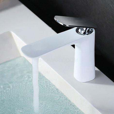 Grifo monomando moderno para lavabo en blanco
