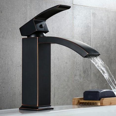 Grifo monomando moderno para lavabo en negro antiguo