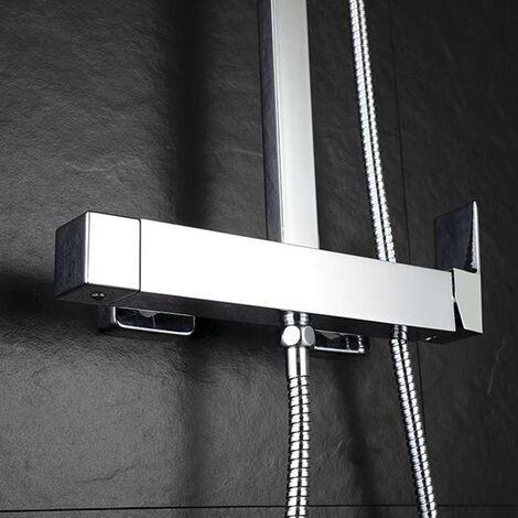 Grifo monomando para columna de ducha Combi CHE, forma cuadrada, fabricado en latón y acabado en cromo brillo, con desviador integrado y maneta de fácil manejo Kibath