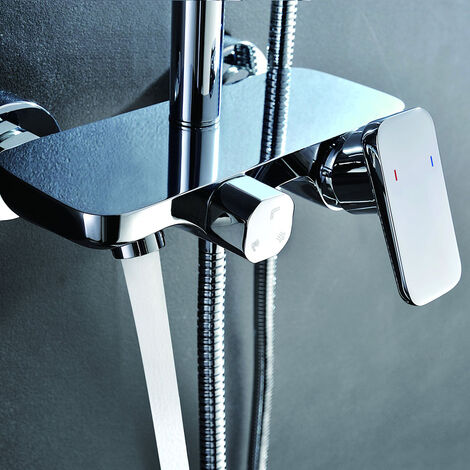 Grifo monomando para columna de ducha Combi de 3 Vias Dual. Tres salidas de agua ducha, flexo y bañera Kibath