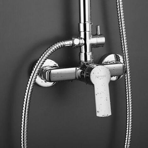 Grifo monomando para columna de ducha Combi SIO. Con maneta alargada de fácil accionamiento. Acabado cromo brillo, fabricado en latón Kibath