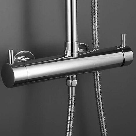 Grifo monomando para columna de ducha TOR / VER, forma redonda, fabricado en latón y acabado en cromo brillo, con desviador integrado y maneta de fácil manejo Kibath