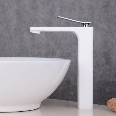 Grifo monomando para lavabo, blanco, para diseño Lavabo, caño fijo, L, cobre H59A