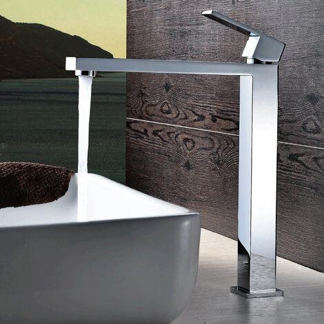 Grifo monomando para lavabo sobreelevado Cromado Diseño Líneas rectas Caño largo Plano