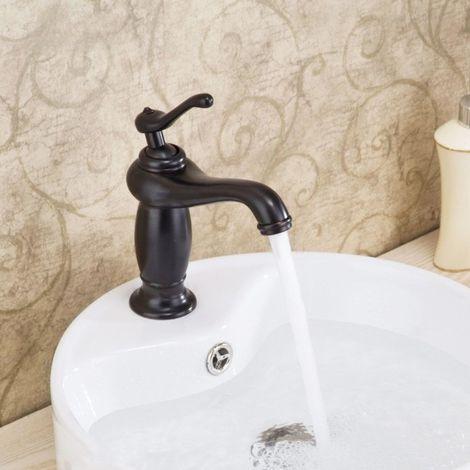 Grifo monomando para lavabo tradicional de latón macizo Antique black