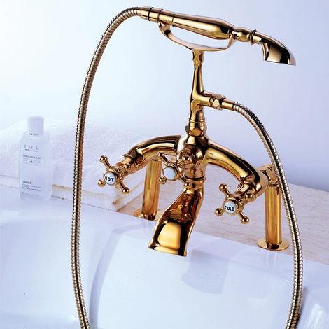 Grifo para bañera estilo vintage de latón macizo Oro