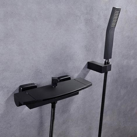 Grifo para bañera oculto moderno con ducha de mano negro