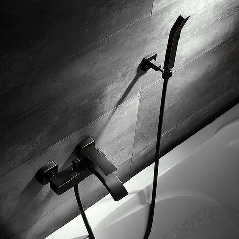 Grifo para bañera de pared moderno con ducha de mano en negro antiguo