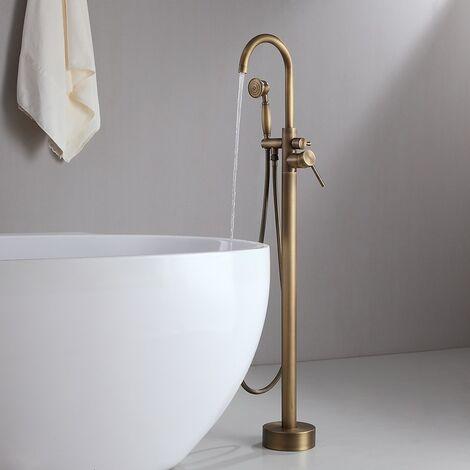 Grifo para bañera independiente clásico en oro con ducha de mano