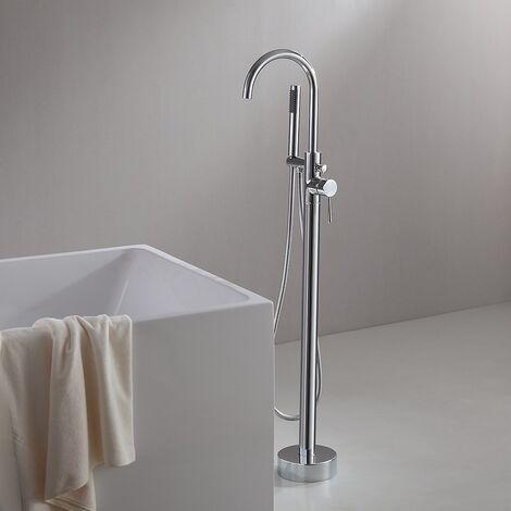 Grifo para bañera moderno con fijación al suelo cromada