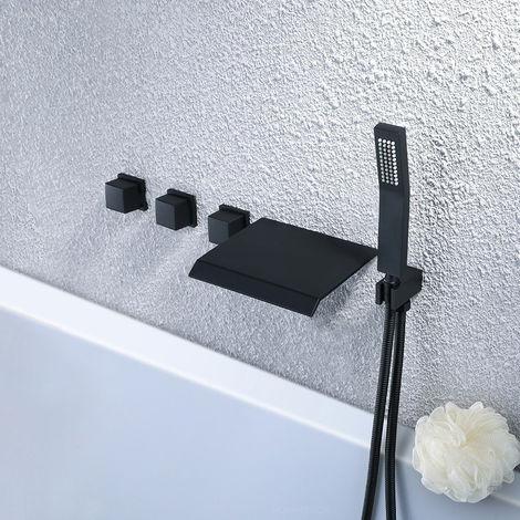 Grifo para bañera oculto moderno con ducha de mano en negro sólido Negro
