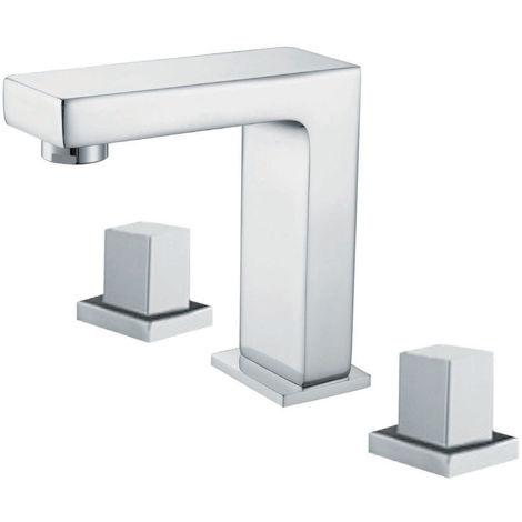 Grifo para baño con múltiples orificios con 2 manijas con caño cromado alto pulido