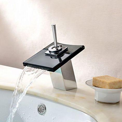 Grifo para baño efecto cascada con caño de vidrio tintado negro