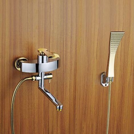 Grifo para ducha y bañera con cabezal de ducha y caño giratorio en acabado oro-plata