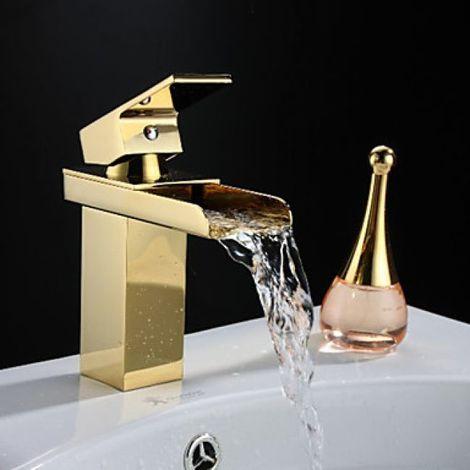 Grifo para fregadero en cascada con grifo monomando, estilo tradicional y acabado dorado