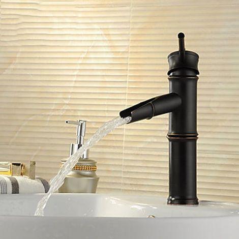 Grifo para lavabo acabado en bronce frotado con aceite con diseño inspirado en bambú, grifo monomando