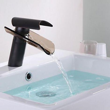 Grifo para lavabo con caño de vidrio manchado, un grifo de estilo contemporáneo y acabado en bronce frotado con aceite