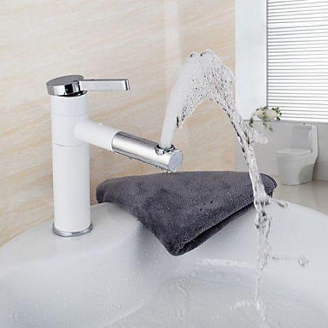 Grifo para lavabo con caño giratorio acabado pintura blanca 200 MM