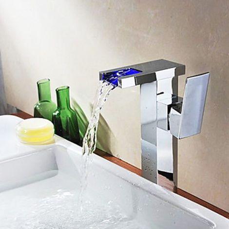 Grifo para lavabo con cascada en metal cromado