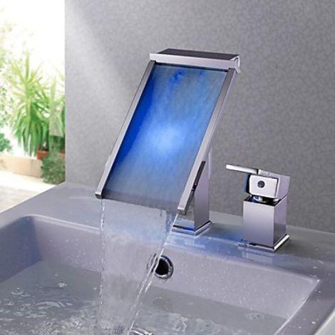 Grifo para lavabo con cascada LED, estilo contemporáneo y acabado cromado