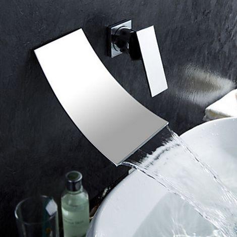 Grifo para lavabo con cascada para baño Grifo de diseño contemporáneo (acabado cromado)