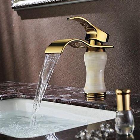 Grifo para lavabo con efecto cascada con pico y mango dorados, estilo contemporáneo (Ti-PVD)