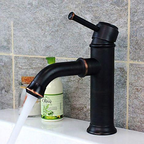 Grifo para lavabo con grifo mezclador, acabado en bronce frotado con aceite para un estilo antiguo