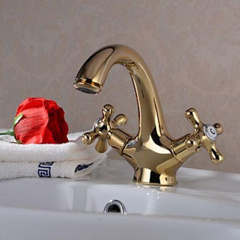 Grifo para lavabo con grifo monomando, estilo tradicional con acabado dorado