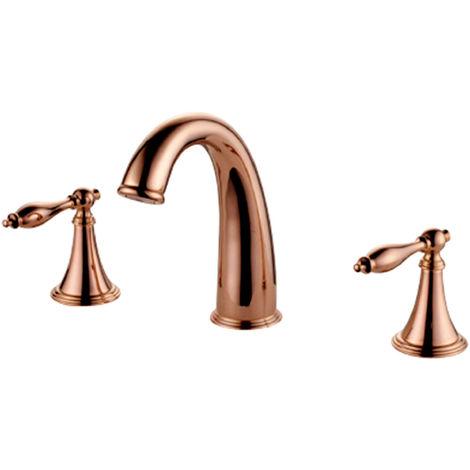 Grifo para lavabo con múltiples orificios en acabado oro rosa